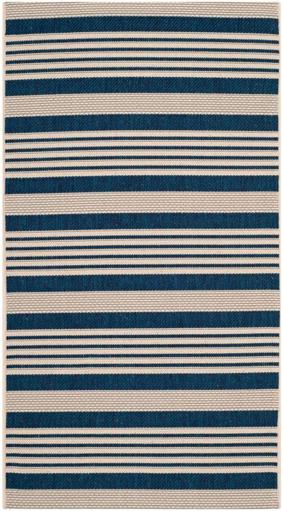 Safavieh Courtyard Blue 2 ft. 7-inch x 5 ft. Indoor/Outdoor Rectangular Area Rug - CY6062-268-3