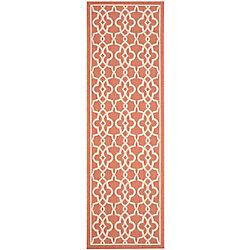 Safavieh Tapis de passage d'intérieur/extérieur, 2 pi 7 po x 8 pi 2 po, style transitionnel, orange Courtyard