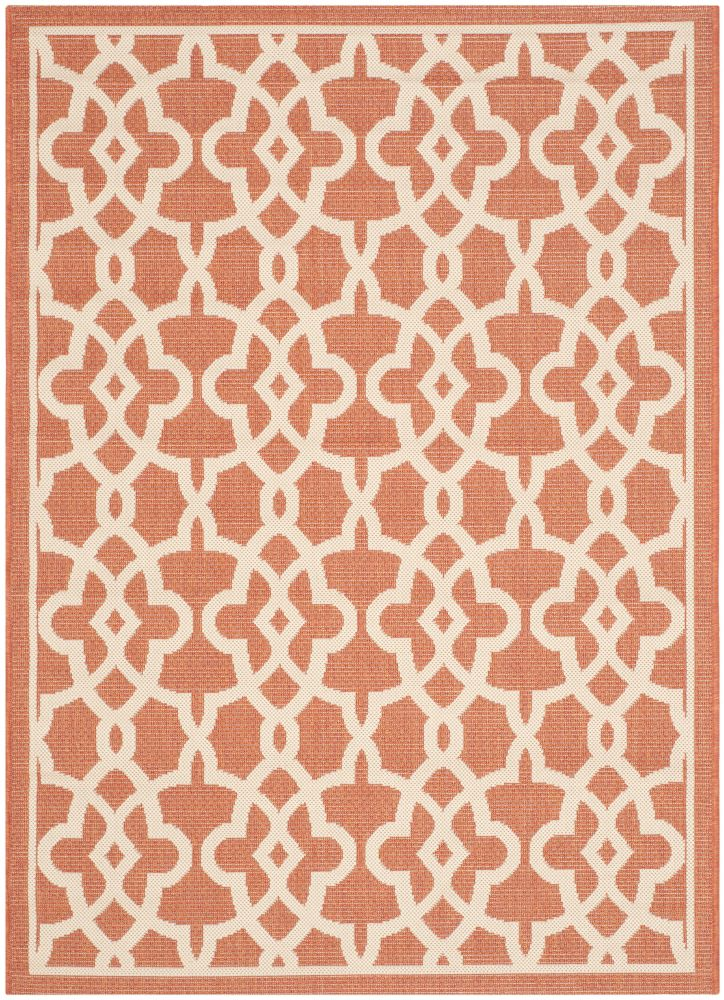 Safavieh Courtyard Jane Terracotta / Beige 4 ft. x 5 ft. 7 inch Indoor/Outdoor Area Rug