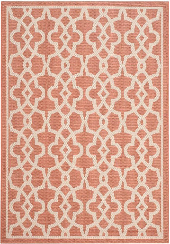 Safavieh Courtyard Jane Terracotta / Beige 6 ft. 7 inch x 9 ft. 6 inch Indoor/Outdoor Area Rug