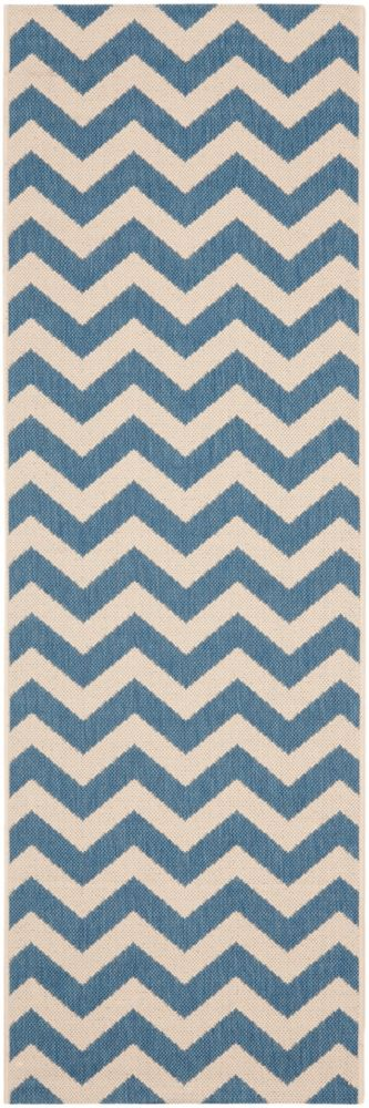 Safavieh Courtyard Jax Blue / Beige 2 ft. 3 inch x 14 ft. Indoor/Outdoor Runner