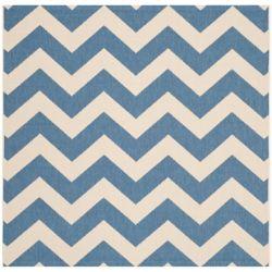 Safavieh Tapis de passage d'intérieur/extérieur, 5 pi 3 po x 5 pi 3 po, style transitionnel, carré, bleu Courtyard
