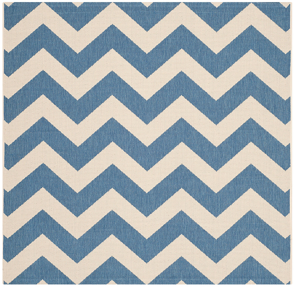 Carpette d'intérieur/extérieur, 6 pi 7 po x 6 pi 7 po, style transitionnel, carrée, bleu Courtyard