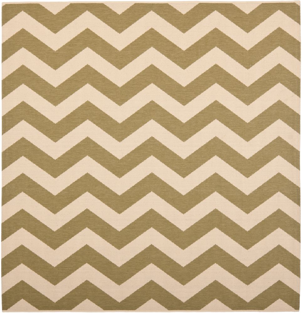 Courtyard Jax Green / Beige 4 ft. x 4 ft. Indoor/Outdoor Square Area Rug