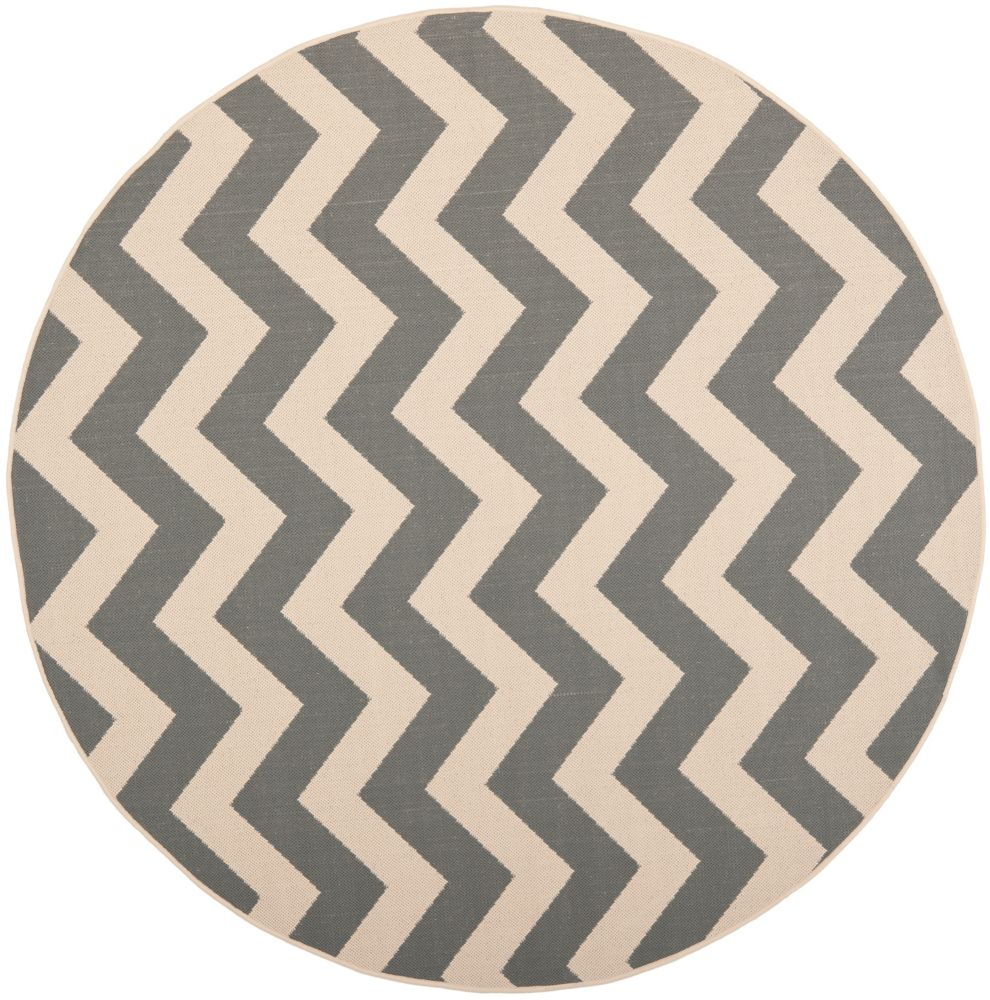 Safavieh Courtyard Jax Grey / Beige 6 ft. 7 inch x 6 ft. 7 inch Indoor/Outdoor Round Area Rug