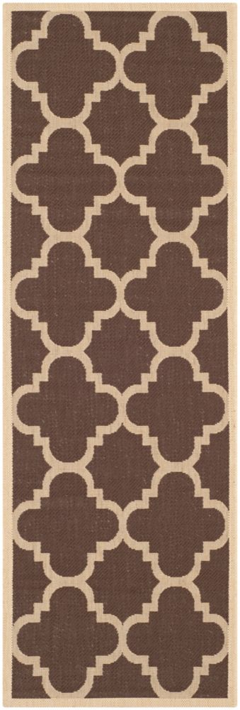 Safavieh Courtyard Alex Dark Brown 2 ft. 3 inch x 8 ft. Indoor/Outdoor Runner