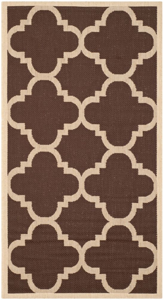 Safavieh Courtyard Alex Dark Brown 2 ft. 7 inch x 5 ft. Indoor/Outdoor Area Rug