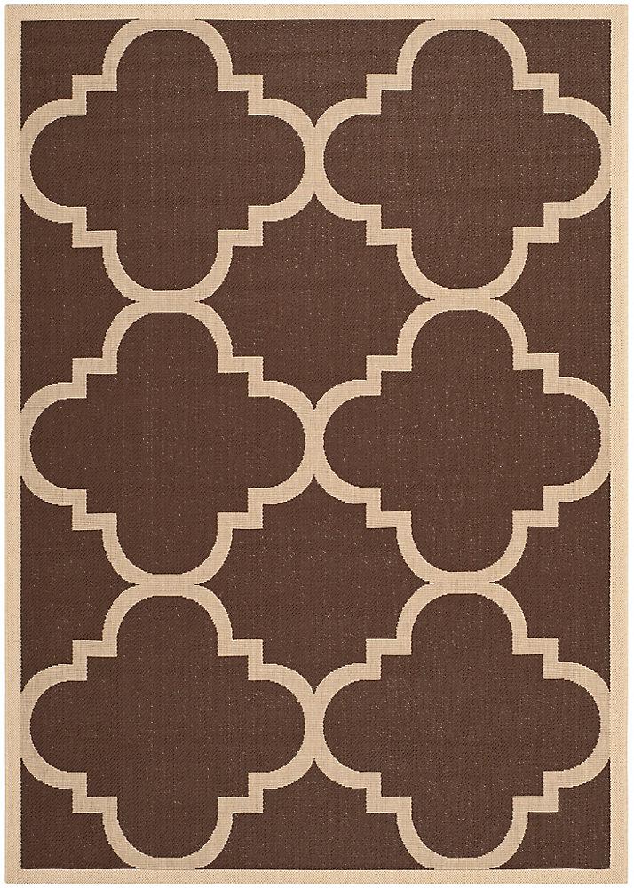 Tapis de passage d'intérieur/extérieur, 5 pi 3 po x 7 pi 7 po, style transitionnel, rectangulaire, brun Courtyard