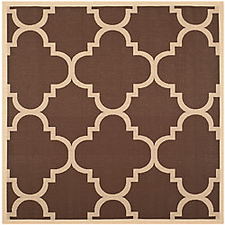 Safavieh Courtyard Alex Dark Brown 5 ft. 3 inch x 5 ft. 3 inch Indoor/Outdoor Square Area Rug