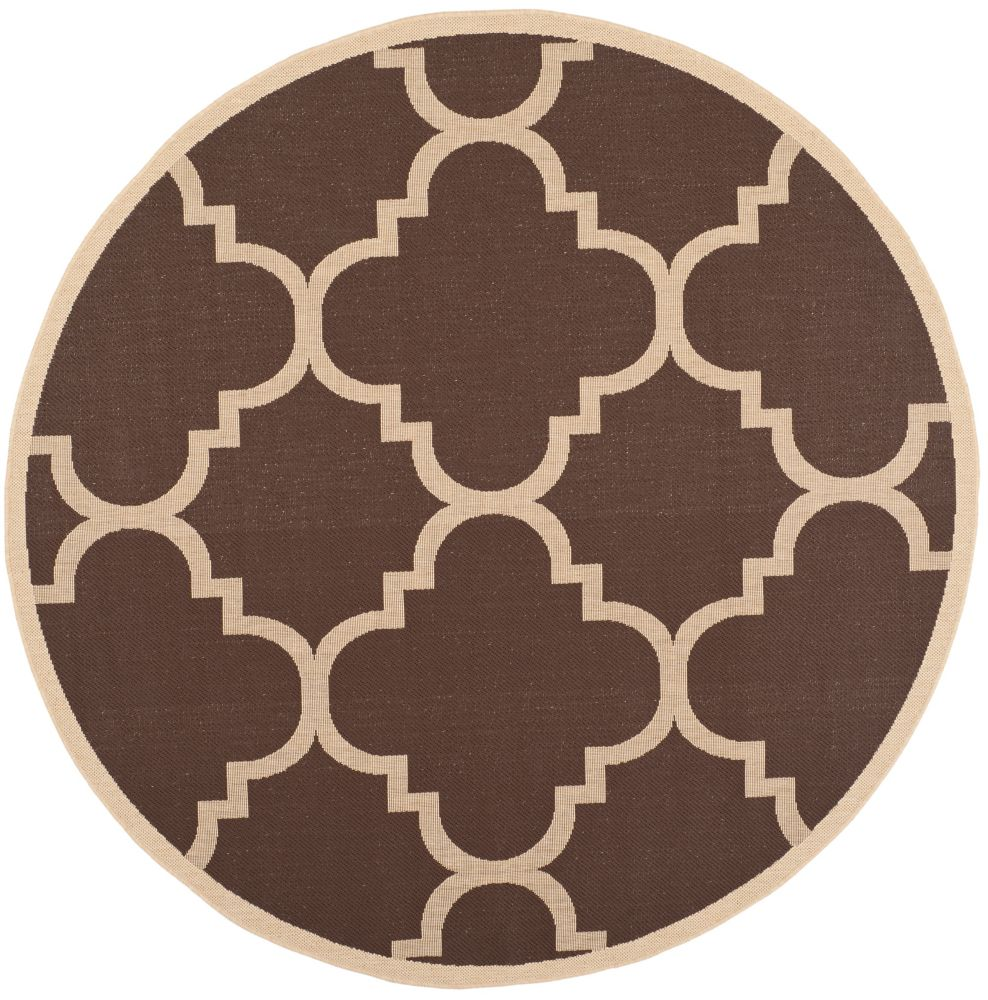 Safavieh Courtyard Alex Dark Brown 6 ft. 7 inch x 6 ft. 7 inch Indoor/Outdoor Round Area Rug