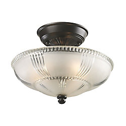 Titan Lighting 3-Light Oiled Bronze Semi-Flush Mount Light