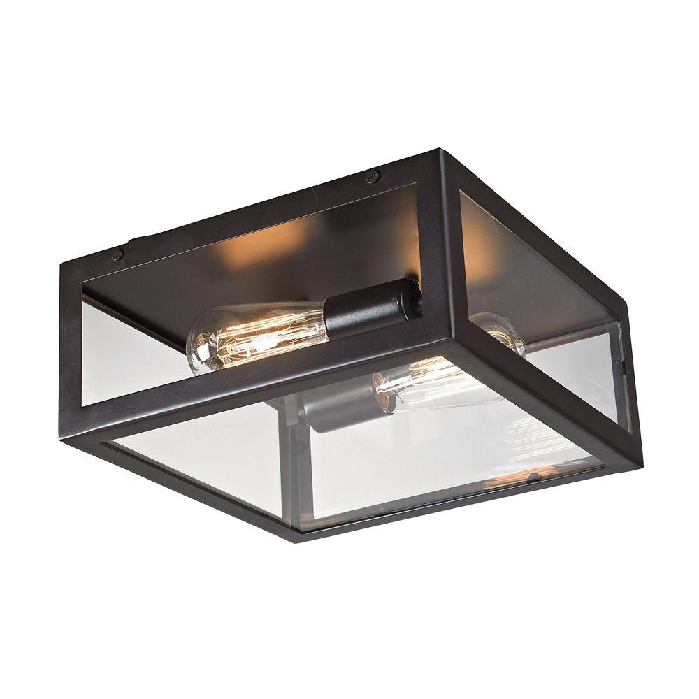 Titan Lighting Parameters-Bronze 2-Light Ceiling Mount Bronze Flush Mount