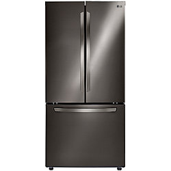 LG Electronics 22 cu. ft. 3-Door French Door Refrigerators with Smart Cooling System in Black Stainless Steel - ENERGY STAR®
