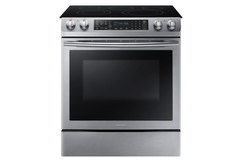 Samsung 30-inch 5.8 cu.ft. Slide-In Electric Range with 5 Burners in Stainless Steel