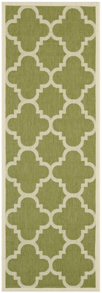 Safavieh Courtyard Alex Green / Beige 2 ft. 3 inch x 12 ft. Indoor/Outdoor Runner