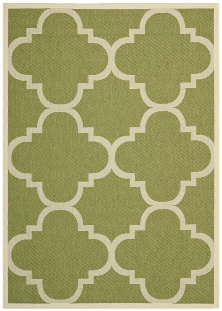 Courtyard Alex Green / Beige 4 ft. x 5 ft. 7 inch Indoor/Outdoor Area Rug