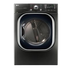 LG Electronics 7.4 cu. ft. Ultra Large Capacity Electric Steam Dryer in Black Stainless Steel - ENERGY STAR®