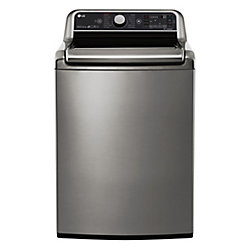 LG Electronics 27-inch 6.0 cu. ft. Top-Load Washer with Steam Function and TurboWash 2.0 in Stainless Steel - ENERGY STAR®