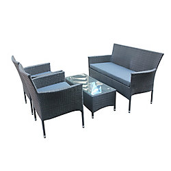 Patio Flare Lucus Patio Chat Set in Matte Black Wicker with Dark Grey Cushions