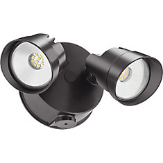 Adjustable Twin Head Dark Bronze 120-WattOutdoor Dusk to Dawn Integrated LED Wall Mount Flood Light