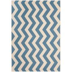 Safavieh Tapis de passage d'intérieur/extérieur, 5 pi 3 po x 7 pi 7 po, style transitionnel, rectangulaire, bleu Courtyard