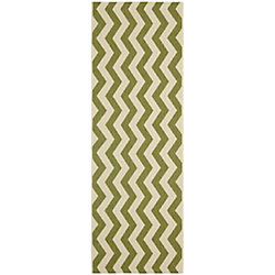 Safavieh Courtyard Jim Green / Beige 2 ft. 3 inch x 6 ft. 7 inch Indoor/Outdoor Runner