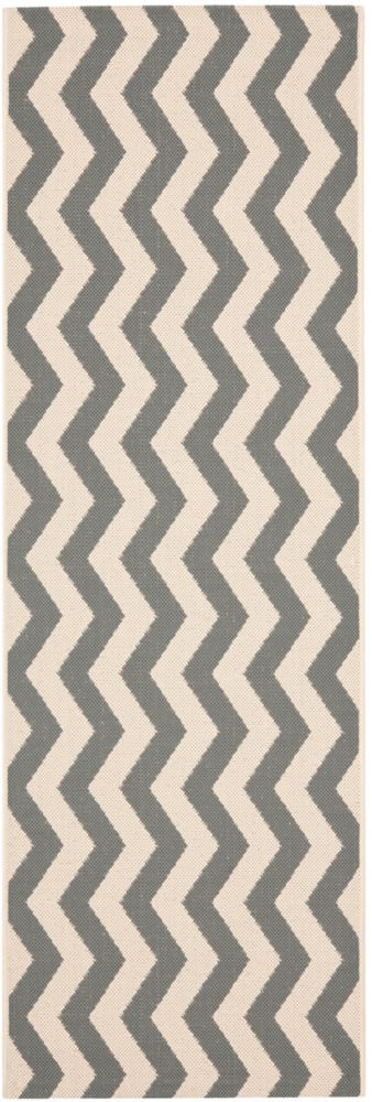 Safavieh Courtyard Jim Grey / Beige 2 ft. 3 inch x 8 ft. Indoor/Outdoor Runner