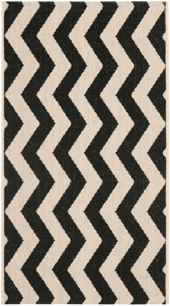 Safavieh Courtyard Jim Black / Beige 2 ft. x 3 ft. 7 inch Indoor/Outdoor Area Rug