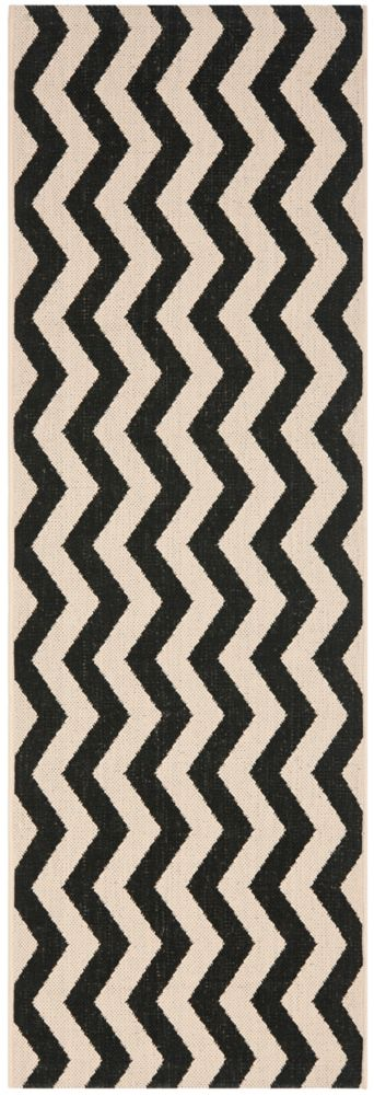 Safavieh Courtyard Jim Black / Beige 2 ft. 3 inch x 8 ft. Indoor/Outdoor Runner