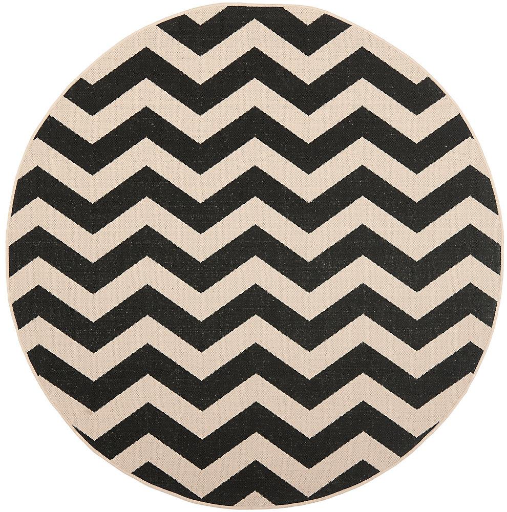 Carpette d'intérieur/extérieur, 6 pi 7 po x 6 pi 7 po, style transitionnel, ronde, noir Courtyard