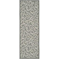 Safavieh Courtyard Bo Anthracite / Light Grey 2 ft. 3 inch x 6 ft. 7 inch Indoor/Outdoor Runner