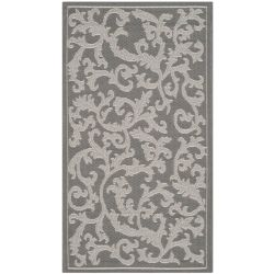 Safavieh Courtyard Bo Anthracite / Light Grey 2 ft. 7 inch x 5 ft. Indoor/Outdoor Area Rug