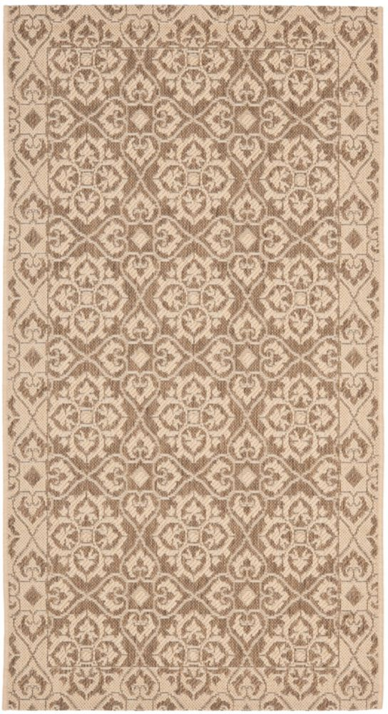 Safavieh Courtyard Earl Brown / Cream 4 ft. x 5 ft. 7 inch Indoor/Outdoor Area Rug
