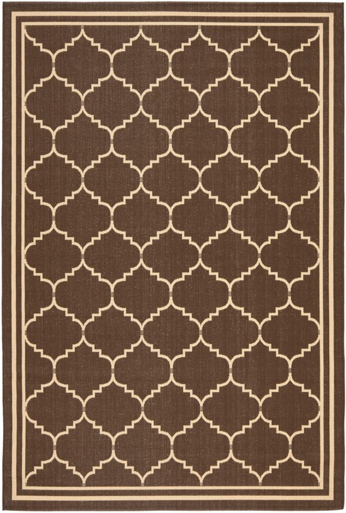 Safavieh Courtyard Jerry Chocolate / Cream 4 ft. x 5 ft. 7 inch Indoor/Outdoor Area Rug