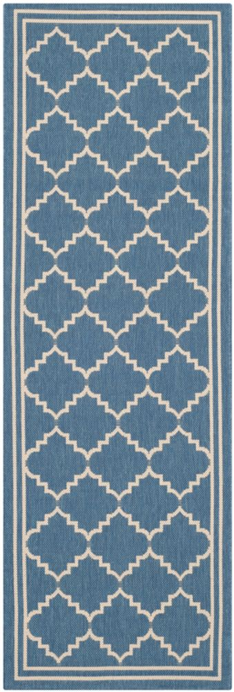 Safavieh Courtyard Jerry Blue / Beige 2 ft. 3 inch x 6 ft. 7 inch Indoor/Outdoor Runner