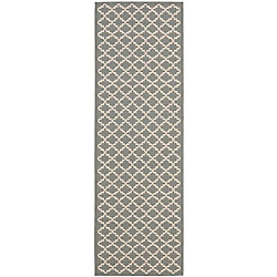 Safavieh Courtyard Jay Anthracite / Beige 2 ft. 3 inch x 8 ft. Indoor/Outdoor Runner