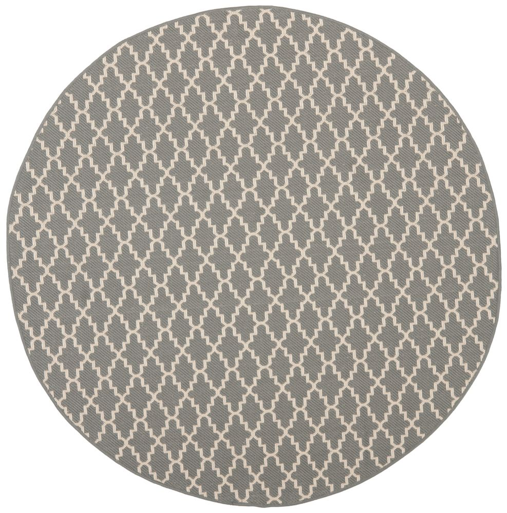 Safavieh Courtyard Jay Anthracite / Beige 5 ft. 3 inch x 5 ft. 3 inch Indoor/Outdoor Round Area Rug