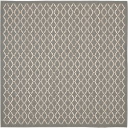 Safavieh Courtyard Jay Anthracite / Beige 5 ft. 3 inch x 5 ft. 3 inch Indoor/Outdoor Square Area Rug