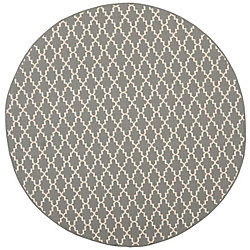 Safavieh Courtyard Jay Anthracite / Beige 6 ft. 7 inch x 6 ft. 7 inch Indoor/Outdoor Round Area Rug