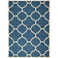 Safavieh Courtyard Alex Navy / Beige 6 ft. 7 inch x 9 ft. 6 inch Indoor/Outdoor Area Rug
