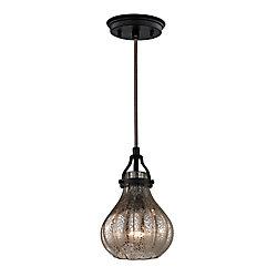 Titan Lighting Danica 1 Light Pendant In Oil Rubbed Bronze And Mercury Glass
