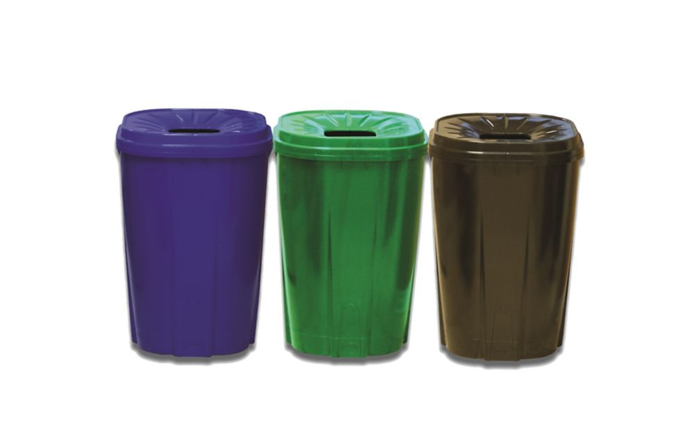55 gallon Recycling bin green,black,blue compo pack