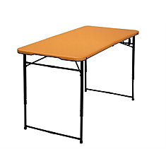 4 Feet Indoor Outdoor Adjustable Folding Table, Orange
