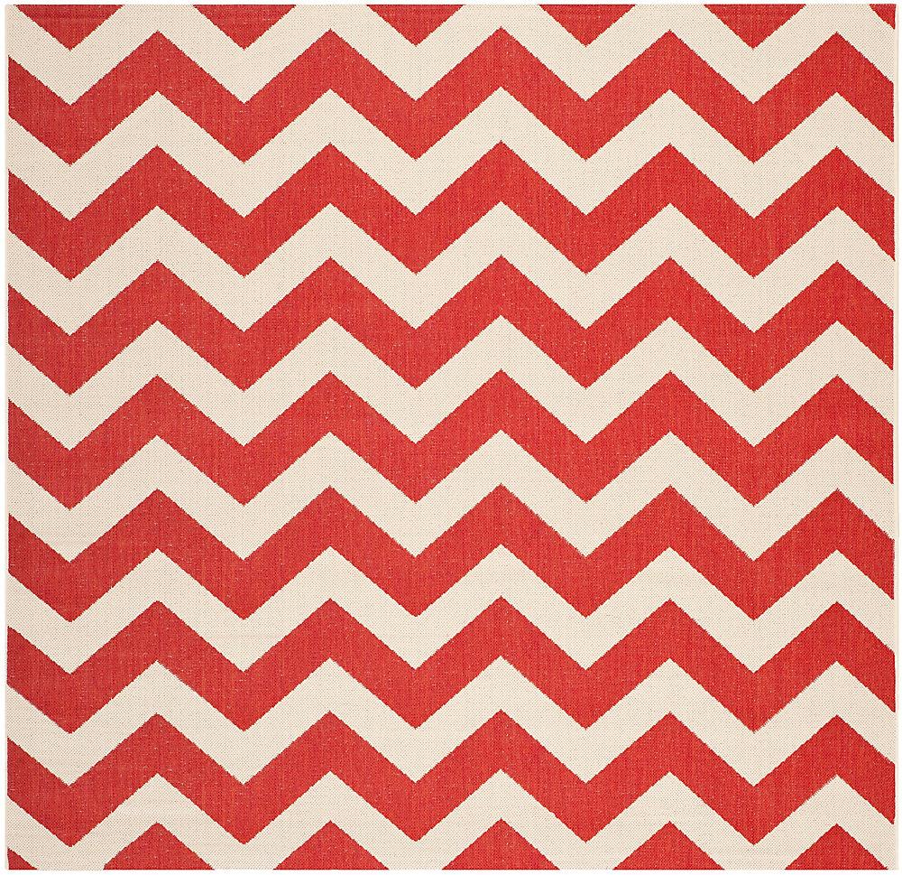 Tapis de passage d'intérieur/extérieur, 5 pi 3 po x 5 pi 3 po, style transitionnel, carré, rouge Courtyard