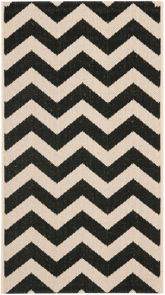 Safavieh Courtyard Jax Black / Beige 2 ft. x 3 ft. 7 inch Indoor/Outdoor Area Rug