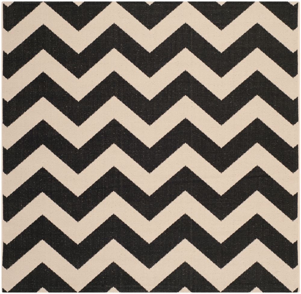 Safavieh Courtyard Jax Black / Beige 5 ft. 3 inch x 5 ft. 3 inch Indoor/Outdoor Square Area Rug
