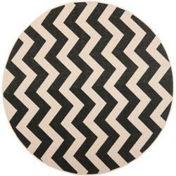 Safavieh Carpette d'intérieur/extérieur, 6 pi 7 po x 6 pi 7 po, style transitionnel, ronde, noir Courtyard