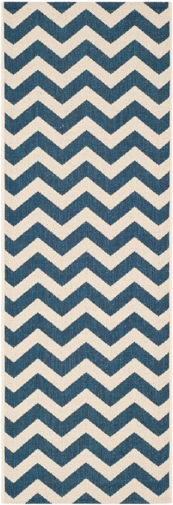 Safavieh Courtyard Jax Navy / Beige 2 ft. 3 inch x 12 ft. Indoor/Outdoor Runner