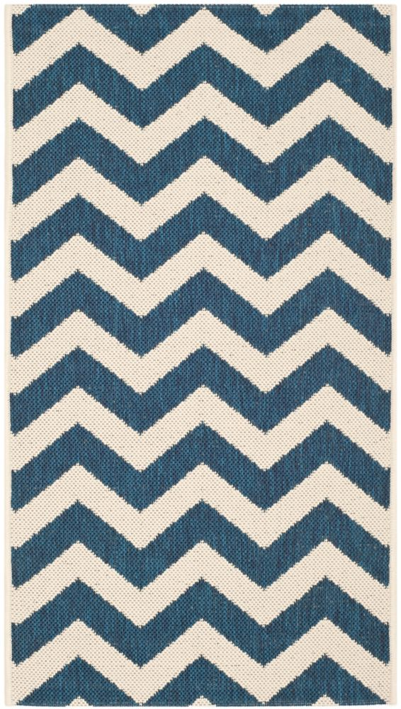 Safavieh Courtyard Jax Navy / Beige 4 ft. x 5 ft. 7 inch Indoor/Outdoor Area Rug