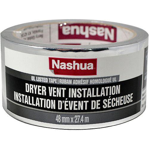 Nashua Tape 48mm x 27.4m Ruban adhésif pour l'installation d'évent de sécheuse